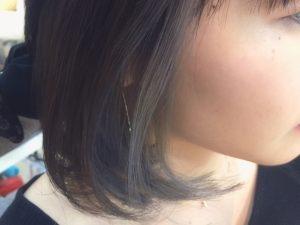 ◆黒っぽグレー×ホワイトブルーのインナーカラー◆