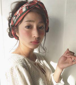 ボブヘアスカーフアレンジで可愛く(*^^*)