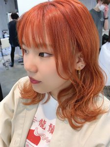 ビビットオレンジヘアカラー☆