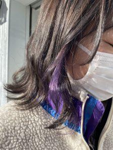 紫のインナーカラーで可愛く☆
